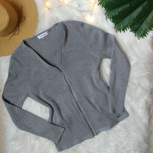 Calvin Klein Gray Ribbed Zipper-Front Sweater